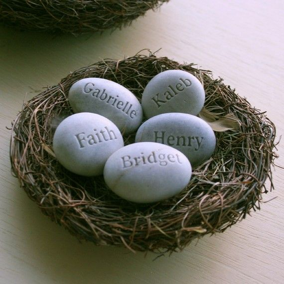 Personalized  family gift - set of 5 name engraved stone eggs in nest - Mom's Nest (c) by sjEngraving