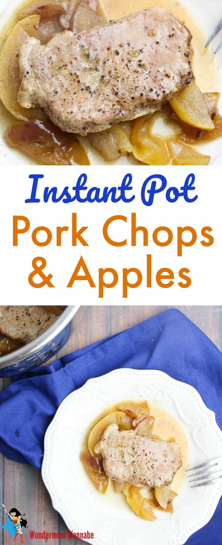 Pefect for fall! These instant pot pork chops and apples are moist, flavorful and delicious. Even better, kids love them!