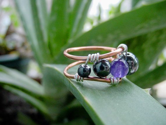 Amethyst & Hematite Copper Wire Wrapped Ring - Calming , Aids Spiritual Awareness and Intuition by CherylsHealingGems, $18.00