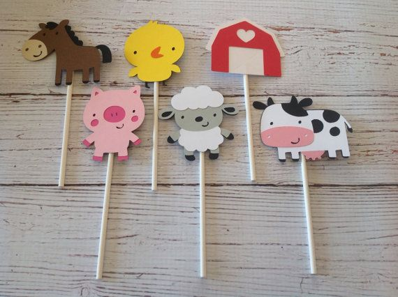 Farm cupcake toppers set of 24 by DarlingPartyz on Etsy