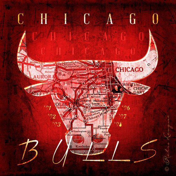 Chicago Bulls Vintage Map Art  Perfect Birthday by RetroLeague, $39.50