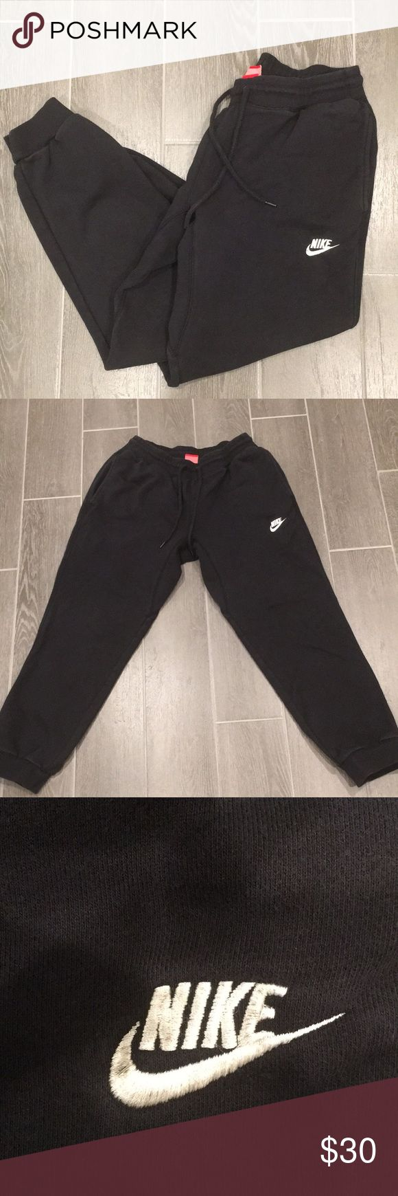Men's NIKE Joggers Men's NIKE Sweatpants worn a handful of times  Boyfriend doesn't like how they are tight at the ankles (he prefers straight leg)  Black mark on Nike symbol — in otherwise superior condition Nike Pants Sweatpants & Joggers