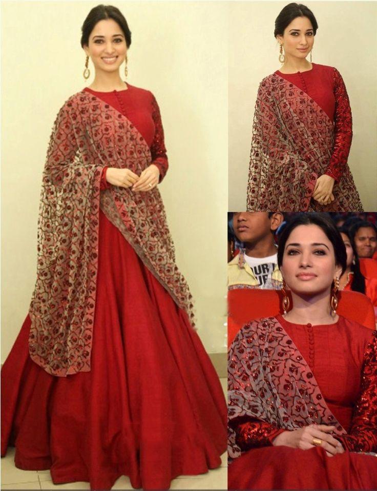 Tamannaah+Bhatia+Silk+Machine+Work+Red+Semi+Stitched+Bollywood+Designer+Suit+-+K1107 at Rs 2649
