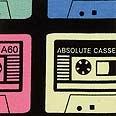 Stoff - jersey stretch sort m kasettbånd