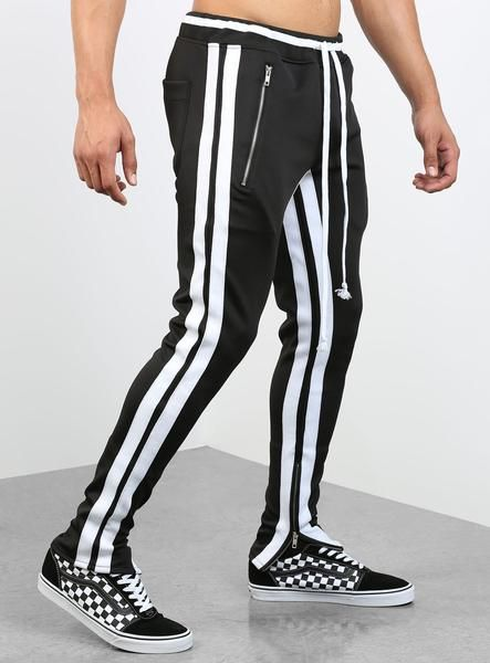 4f2a69a63c664 Double Striped Track Pants V2 in Black and White