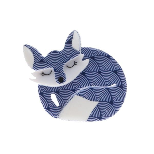 "Limited Edition Erstwilder Sacha Sleeping Fox brooch. ""Curled into the corner of a sloping green hill lies Sacha the Sleeping fox"""