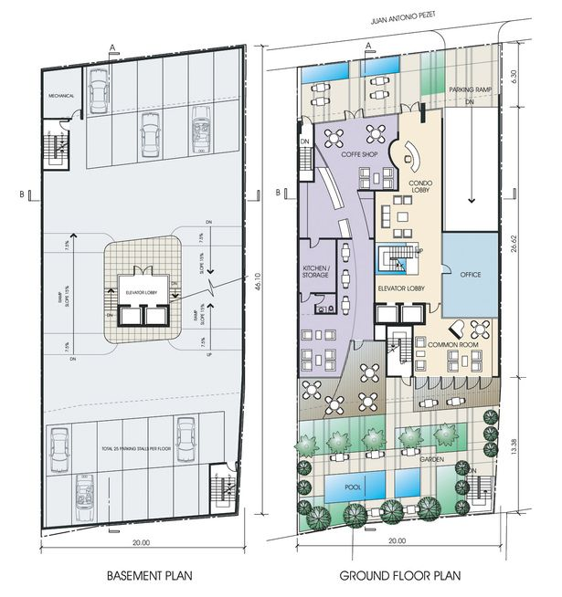 GROUND FLOOR AND BASEMENT PLANS