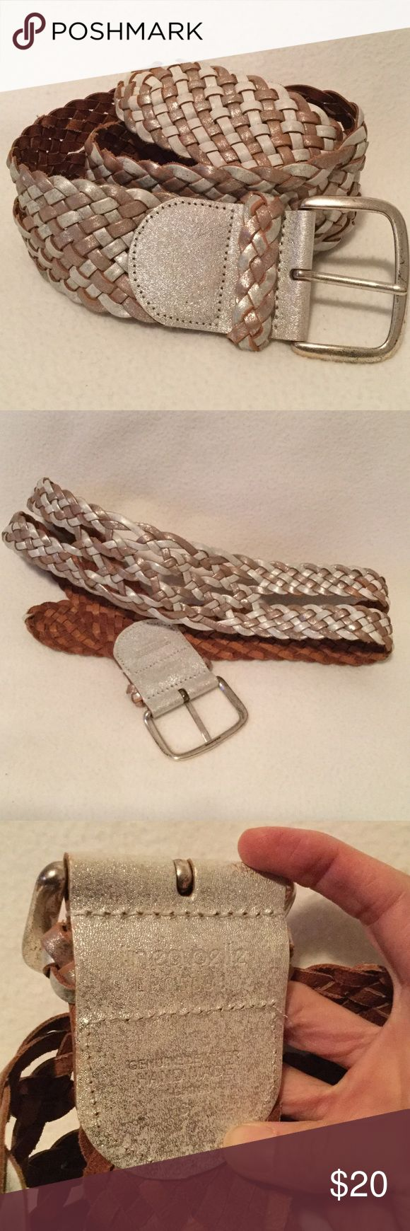 Silver and tan leather belt. Linea Pelle, hand made, Shimmering silver and tan leather woven belt. Very good condition. Linea Pelle Accessories Belts