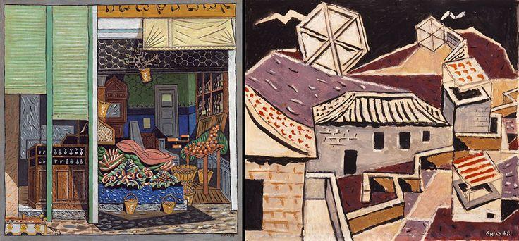 Αριστ., Σύνθεση σε δύο κλίμακες, 1939. Δεξ., Στέγες και αετοί, 1948. Βλ. paletaart. Πηγή: www.lifo.gr Αφιέρωμα στο Νίκο Χατζηκυριάκο-Γκίκα. | ΣΑΝ ΣΗΜΕΡΑ | PLUS | Θέματα | LiFO