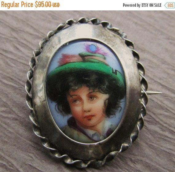 En vente peint à la main Antique porcelaine Miniature broche décantation argent broche bijoux SS183