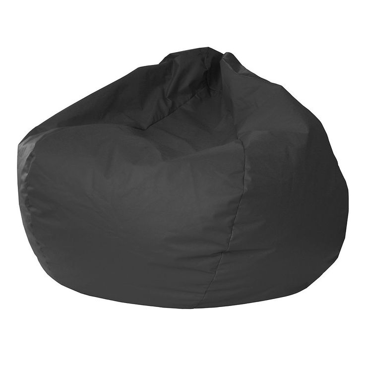 Extra Large Faux-Leather Bean Bag Chair, Black