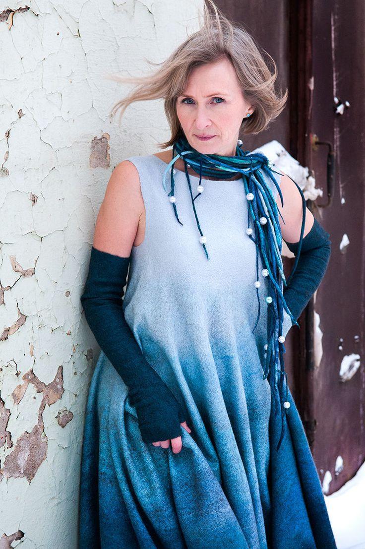 Купить Войлочное платье Песни моря - морская волна, авторская ручная работа, нарядное платье