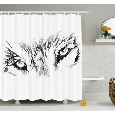 """Ambesonne Tattoo Winter Time Wolf with its Eyes Looking Straight and Fierce Shower Curtain Set Size: 75"""" H x 69"""" W x 1"""" D"""