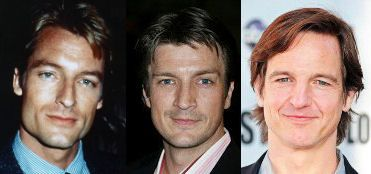 A young Perry King (L) could easily be mistaken for Nathan Fillion (middle) - who could very well pass up for William Mapother; (R) whom just so happens to be Tom Cruise's cousin...