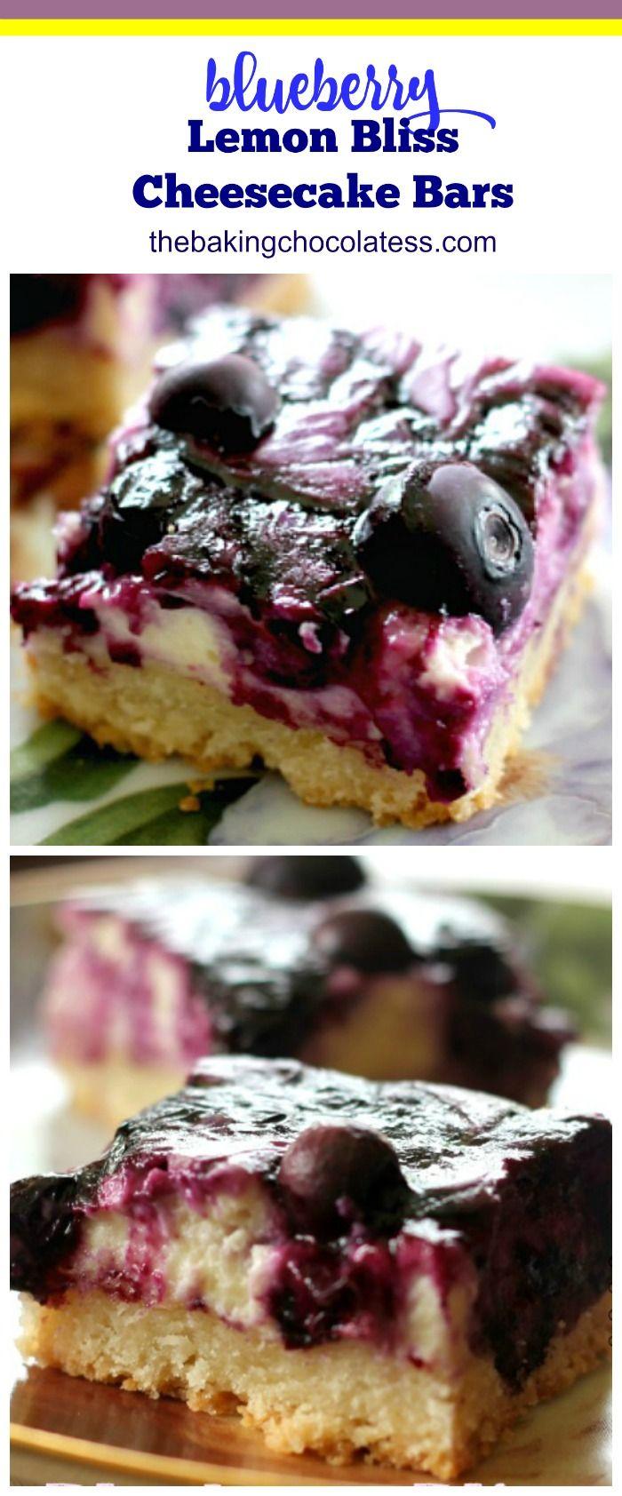 Blueberry Lemon Bliss Cheesecake Bars via @https://www.pinterest.com/BaknChocolaTess/