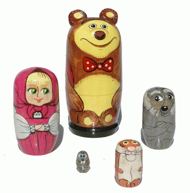 "Russian ""Masha and Bear"" Wooden Matryoshka Babushka Nesting stacking Dolls, 5pc in Jouets et jeux, Poupées, vêtements, access., Poupées russes | eBay"