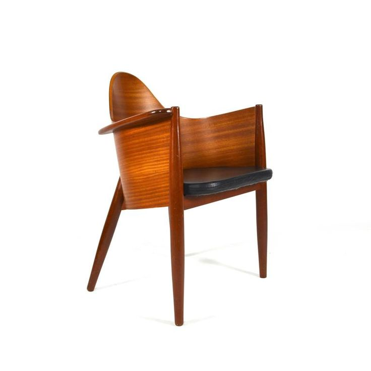 Very rare Scandinavian Teak Plywood / Leather Side Chairs - Mid Century