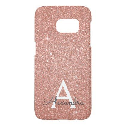 Pink Rose Gold Glitter and Sparkle Monogram Samsung Galaxy S7 Case - monogram gifts unique design style monogrammed diy cyo customize