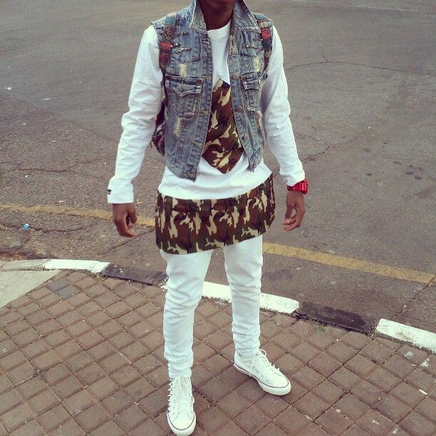 #cute combo #dashiki #skinny jeans #denim vest #spiked chuck taylor