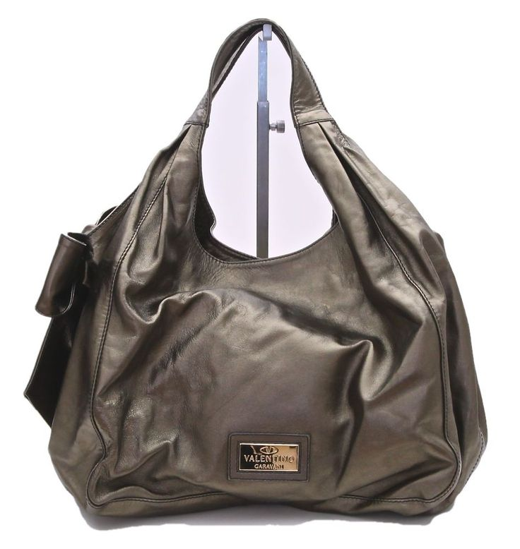 Valentino Metallic Bronze Leather NUAGE BOW Tote Hobo Shoulder Bag ...