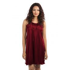 Short Womens Honeymoon Nightwear / Night Dress - (Maroon) - (Free Size)