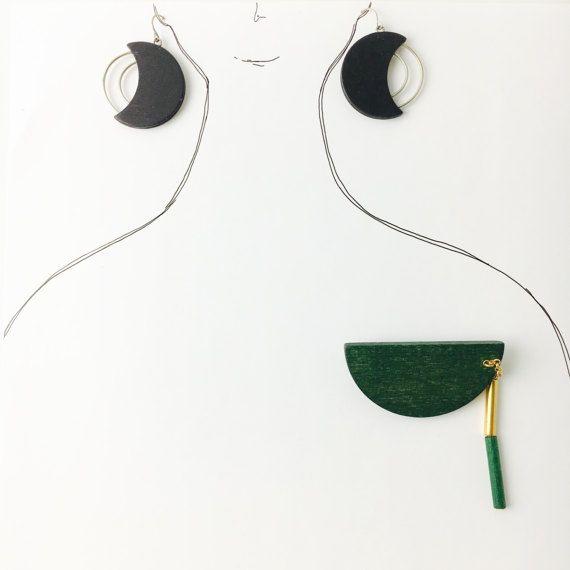Vintage Aarikka wooden green brooch and by FinnishVintageOasis