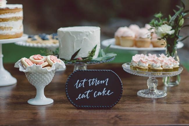 """""""let them eat cake"""" calligraphy sign for the dessert table"""