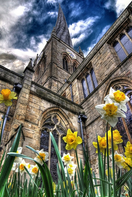 The 'Crooked Spire' is Chesterfield's Parish Church. Over the centuries the spire has warped quite considerably and is quite a landmark as a result!  Reaching Upwards by Simon Bull Images, via Flickr