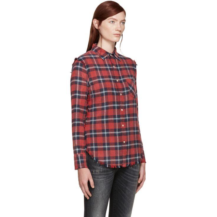 R13 - Chemise à carreaux rouge Inside Out Slim Boy