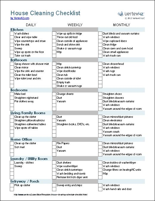 A House Cleaning Checklist template for Excel. Groups tasks by room and whether the task is daily, weekly, or monthly. Download @ http://www.vertex42.com/ExcelTemplates/house-cleaning-schedule-checklist.html