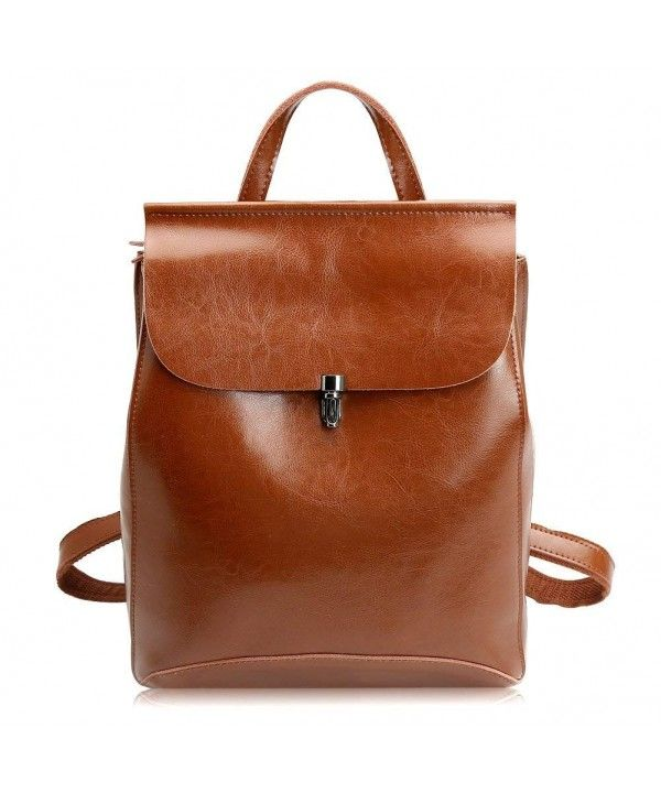 Women s Leather Backpack Casual Daypack (M- Brown(M)) - Brown(M ... e541aadd796c5