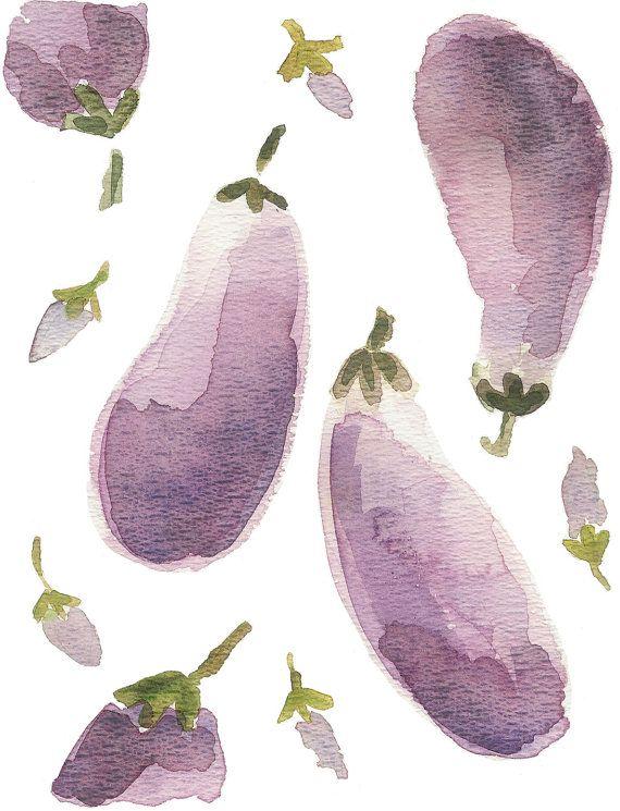 Eggplants, Aubergine art print of watercolor painting, Purple lilac , kitchen art, limited edition