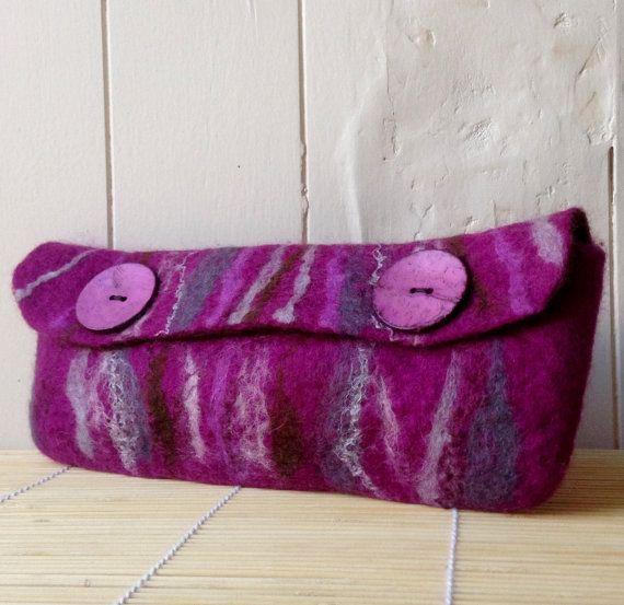 Clutch bag. Wool felted bag. Merino wool bag. by Beautifulfelts