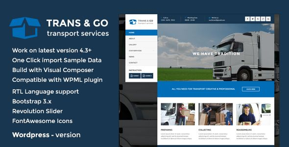 TransGO – is clean and retina ready Wordpress Transport & Logistics theme. It is great, professional and easy to use theme.