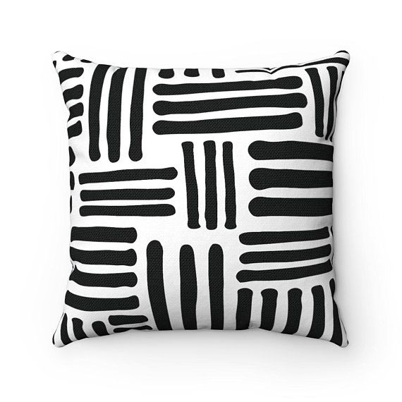 Black And White Decorative Pillow Throw Pillow Accent Pillow Geometric Geometr Boho Eclectic Decor Pillows Decorative Patterns White Decorative Pillows