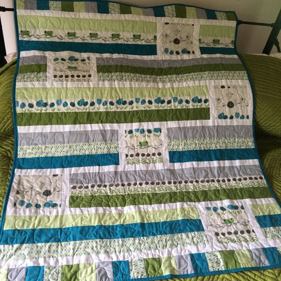 Baby Cot Quilt Frogone It by BlackCatCreationsAU on Etsy