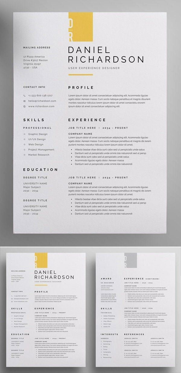 Professional Resume Template Instant Download 1 Page Resume Template For Ms Word Diy R Graphic Design Resume Resume Design Creative Resume Design Inspiration