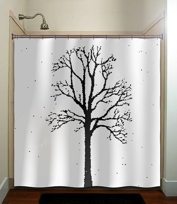 Oak Forest Woodland Winter Trees Shower Curtain Bathroom - New Pearl White Home Tree Vinyl Shower Curtain Modern. Tree Shower