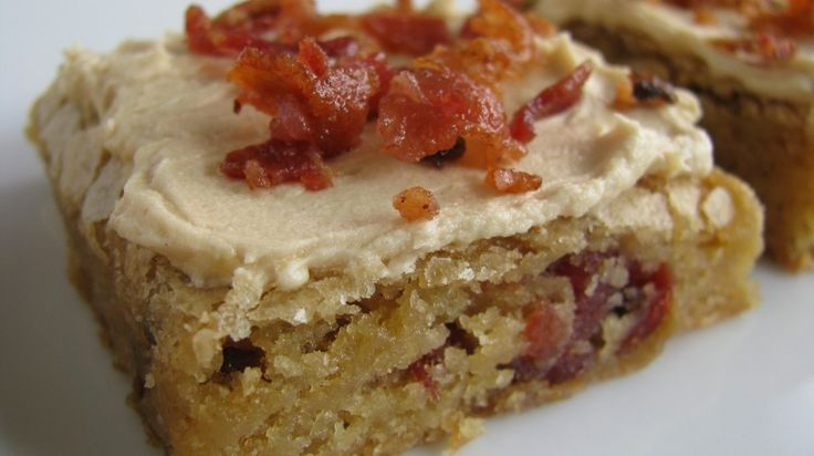 PEANUT BUTTER BACON BLONDIES with Bacon Peanut Butter Frosting (can use a boxed blondie mix or the recipe from scratch)