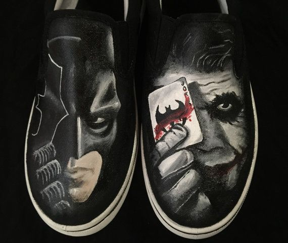 a8b5472a372bcf Batman Joker Painted Shoes by Because42CustomKicks on Etsy