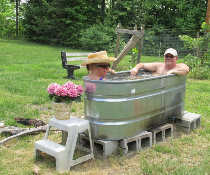 17 best images about my hot tub on pinterest homemade for Outdoor bathtub wood fired