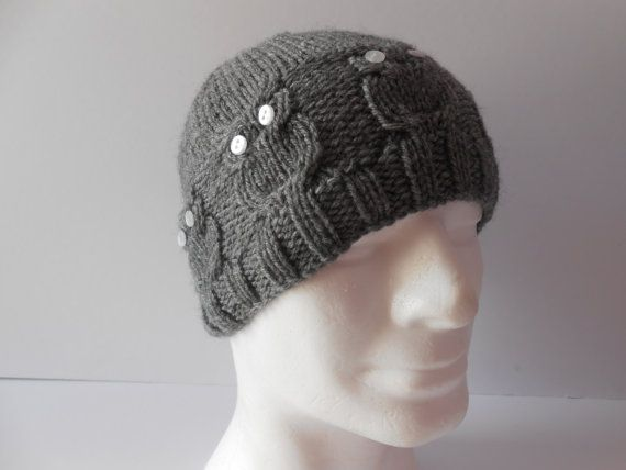 Knitted Grey Owl Hat. Men's Cable Knit Hat. Unisex by AluraCrafts