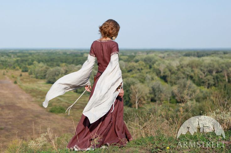 "Medieval flax linen dress ""Archeress"" with undertunic and corset"