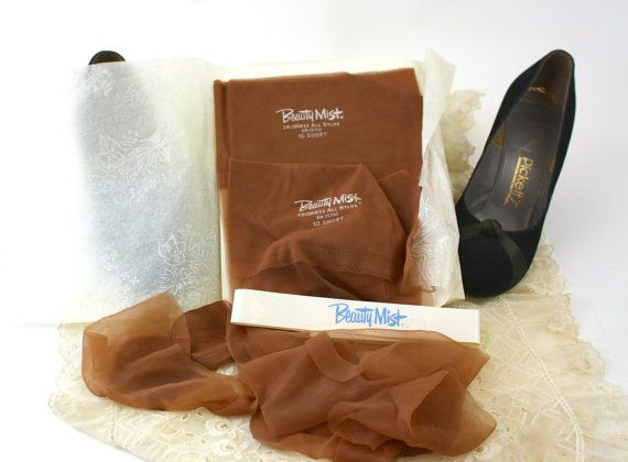 Vintage 60s Nylon Stocking 2 pairs Beauty Mist by jantiques