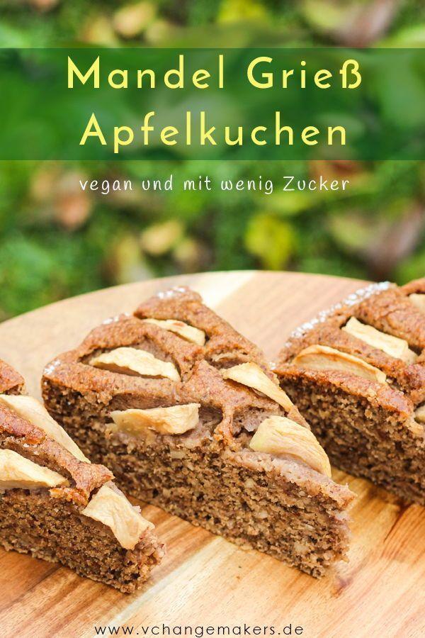 Rezept: Saftiger Mandel Grieß Apfelkuchen mit wenig Zucker – vegan