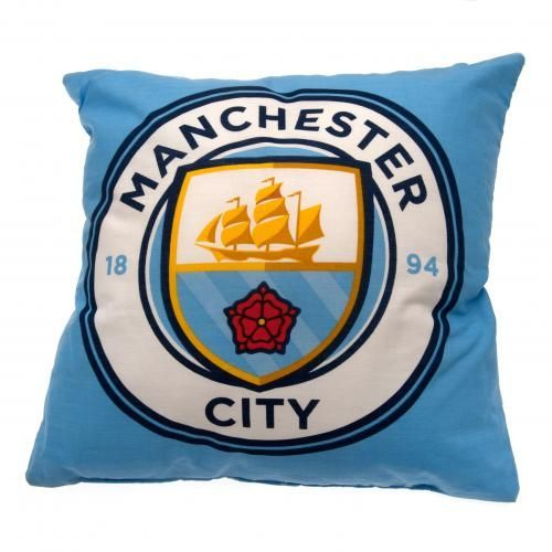 Square Manchester City cushion in club colours and featuring the club's new crest on the front. FREE DELIVERY on all of our gifts
