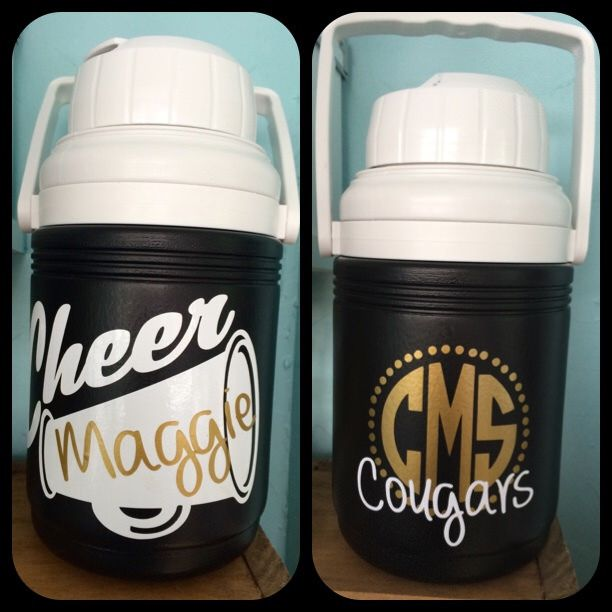 Personalized cheer team water jug, name and team. #cheergift #cheercamp