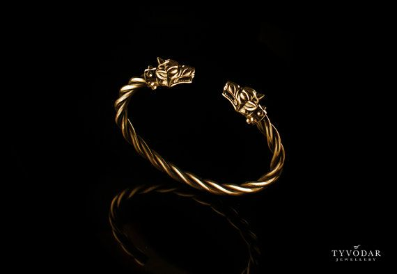 Fenrir gold plated  Viking bracelet with wolf heads   by TYVODAR