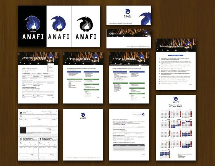 Imagen corporativa de escuela de arte ANAFI  Logotipo, sobre, hoja membretada, recibo de honorarios,  solicitud de beca, hoja de inscripción, calendario, mapa, información de cursos, plan de estudios.