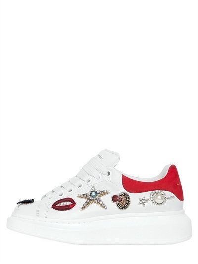 ALEXANDER MCQUEEN 40Mm Swarovski Charms Leather Sneakers, White/Red. #alexandermcqueen #shoes #sneakers